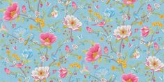 Chinese Garden (341002) - Pip Wallpaper Wallpapers - A fun and flamboyant wallpaper design, featuring an all over trailing pattern of flowers, birds, butterflies and tea cups. Shown here in the light blue colourway. Other colourways are available. Please request a sample for a true colour match. Paste-the-wall product. Please allow 10-14 working days for delivery as this product comes from abroad.