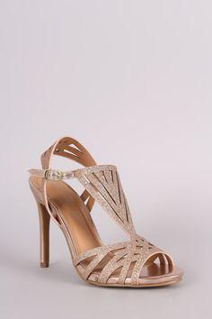 Anne Michelle Glitter Caged Dress Heel