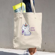 All about tote bag A classic tote bag that'll withstand whatever you throw in it, from books to groceries! Denim Cotton, Cat Lover, Reusable Tote Bags, Kitty, Wine, Collection, Little Kitty, Kitty Cats, Kitten