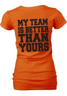 Oklahoma State Cowboys Womens Orange My Team V-Neck T-Shirt (back)