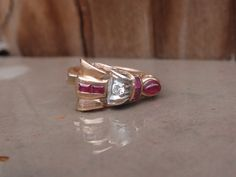 Art Deco Ruby and Diamond 14k yellow gold by LuceesTreasureChest