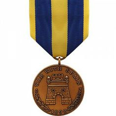 The Spanish Campaign Medal - Army is a decoration presented by the U.S. Armed forces to recognize all military members who served in active duty during the Spanish-American War. There are two versions of the medal, one for the U.S. Army and one for the U.S. Navy and Marine Corps.