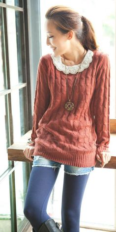 A top with a girly collar under a chunky sweater with shorts & bright tights! Comfy and feminine. LOVE.   I am afraid this just isnt flattering at my age, but love it! Wish i had thought of it in college!