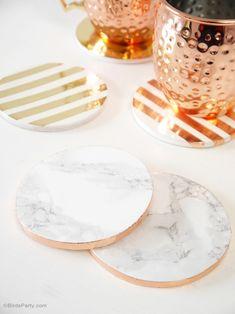 DIY Metallic Foil & Marble Coasters - BirdsParty.com