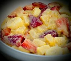 Glazed Fruit Salad-  1 (3.4 ounce) box french vanilla instant pudding mix, 1 (20 ounce) canpineapple chunks, 1 lbstrawberry, stemmed/quartered, 1 bunchgrapes,2 (15 ounce) cans mandrian oranges.   Measure 1/2 cup pinapple juice and 1/2 cup mandrian orange juice and mix with dry pudding mix in saucepan with a whisk. Turn on low/med heat and stir until glazed. Cool pudding mix and stir in with fruit. I make this the day before serving and this recipe is a big hit with kids. ENJOY…
