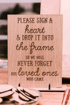"""""""Please sign a heart and drop it into the frame"""" rustic wedding guest book alternative 