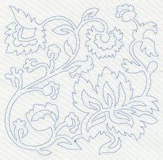 Vintage Jacobean 5 Machine Embroidered Quilt Block Azeb   eBay