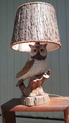 Brown Owl Lamp Retro Kitsch 70s Mod Lighting Harvest Autumn Halloween Free Shipping