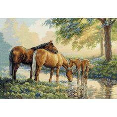Набор для вышивки крестом Dimensions 35174 Horses By A Stream