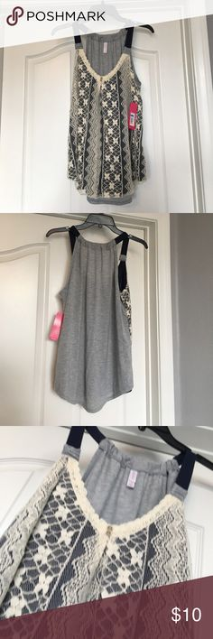 NWT Lace Tank Top Brand new with tags! This lace tank top is elegant and would pair great with almost anything - jeans, a skirt, etc. Because of the lace, it can also be dressed up or down. Xhilaration Tops Tank Tops