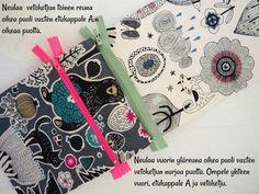 DIY: Pussukka tuplavetoketjulla - Punatukka ja kaksi karhua Sew Wallet, Quilted Bag, Sewing Projects, Sewing Patterns, Weaving, Quilts, Purses, Crochet, Bags