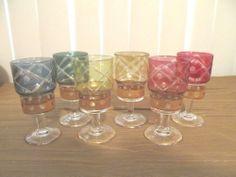 Set of 6 Vintage Colored Stems Goblets, Cut and Embellished w/ Gold Original Box
