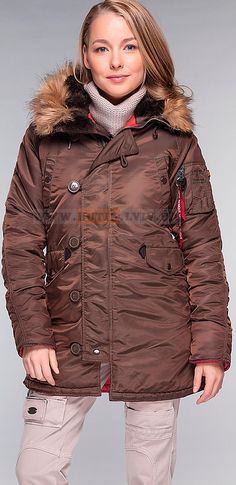 Куртка аляска Slim Fit N-3B Parka Alpha Industries (коричнева) Розміри: S Ціна: 223 $