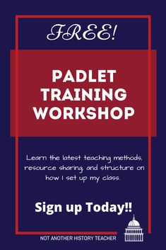 I am offering a FREE Padlet workshop on Monday, June 22nd EST from 7-8 PM. Padlet is an application to create an online post-it note- bulletin board that you can use to display information and collaborate together for any topic. Join Here #padlet #notanotherhistoryteacher