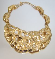 Signed Napier Molten Gold Huge Necklace by by LadyandLibrarian, $225.00