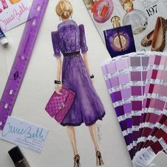 Looks like #Fashion #Illustrator @carriebeth_art 's purple-clad woman is ready to walk the runway! #inspiration