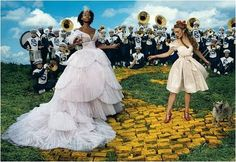 Kara Walker, Keira Knightly, and the Penn State Marching Band as Glinda and Dorothy by Annie Leibovitz