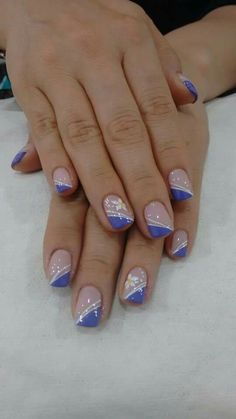 140 blue nail art ideas – page 1 Nail Tip Designs, French Nail Designs, Fancy Nails, Pretty Nails, Holiday Nails, Christmas Nails, Nagellack Trends, French Tip Nails, Purple Nails