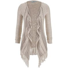maurices Lightweight Hacci Cardigan With Fringe Hem ($21) ❤ liked on Polyvore featuring tops, cardigans, jackets, sweaters, beige, brown cardigan, light weight cardigan, striped cardigan, stripe cardigan and drape front cardigan