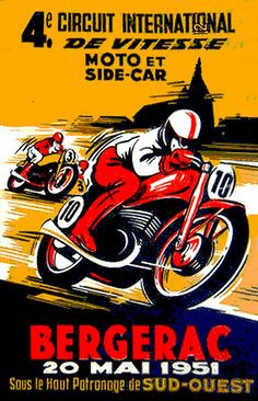 Power-packed. Bike Poster, Motorcycle Posters, Motorcycle Design, Course Moto, Grand Prix, Side Car, Old Motorcycles, Old Images, Classic Bikes