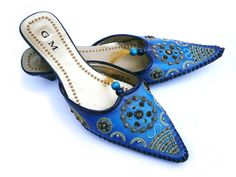 #Vintage #Ombre #Blue #Beaded And #Embroidered #Bollywood #Style #Shoes by Pippiripi