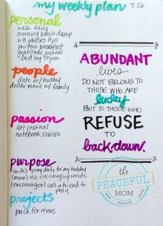 Get Organized and Reach Your Dreams With a Weekly Plan -- My Weekly ABUNDANT Plan -- July 2015 -- The Peaceful Mom