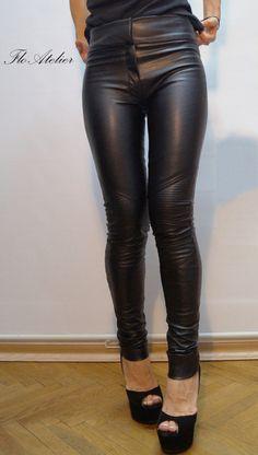 Vegan Leather Pants/Stretchy Pants/Leggings/Skinny Pants/Black Vegan Leather Pants/Moto style Pants/Biker pants/Slim leg Pants/F1302
