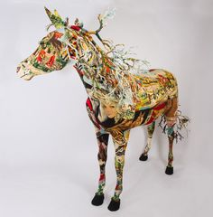 Frederique Morrel: New Art Through Vintage Tapestry Horse Sculpture, Animal Sculptures, Frederique, Art Textile, Textile Sculpture, Textile Artists, Textiles, Paperclay, Reno