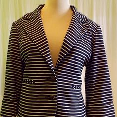 Navy/White Striped Blazer by Cartonnier for Anthro Cute & casual navy & white striped blazer by Cartonnier for Anthropologie! Never been worn & in great condition! Anthropologie Jackets & Coats Blazers