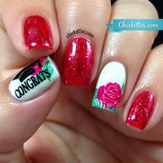 Chickettes.com Crimson and Cream Graduation Nails