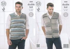 King Cole Mens Double Knitting Pattern Sleeveless Slipover & Waistcoat Drifter DK (4260): Amazon.co.uk: Kitchen & Home