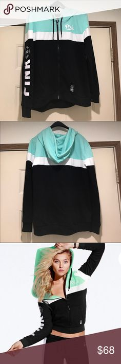 💚Victoria's Secret PINK Colorblock Zip Hoodie💚 Brand spankin' new! Super super cute color block zip up hoodie! The top half is a beautiful mint color with a white strip and white lettering. The bottom half is just black, but these color combos are BEAUTIFUL! I love this jacket, just never got around to wearing it. Just tried it on one time. No tags! PINK Victoria's Secret Jackets & Coats