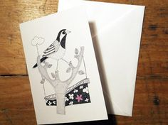 Pied Wagtail Birds Greeting Card from an original by EmmaGilesArt