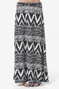 Black, white & grey print maxi skirt with belt - Clothing