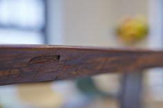 Live Edge Book Matched Black Walnut Slab with Trapezoid Base in Brushed Steel - Courtesy of Catherine Hamer, Curve Interior Design UK Walnut Slab, Pond, Dining Table, Base, Steel, Interior Design, Nest Design, Water Pond, Home Interior Design