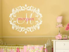 Girl Name Damask Wall Decal Nursery Decor Monogram by AllOnTheWall, $32.00