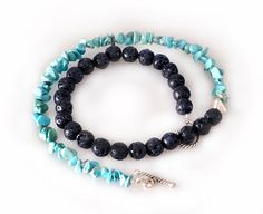 Necklace  Black Lava and Turquoise Necklace by SunSanJewelry