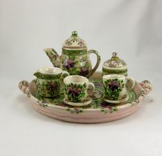 Miniature pink handmade porcelain tea set