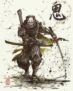 Demon Samurai Genji by MyCKs on DeviantArt – katana Ninja Kunst, Arte Ninja, Ninja Art, Samurai Drawing, Samurai Artwork, Samurai Tattoo, Japanese Artwork, Japanese Tattoo Art, Anime Kunst