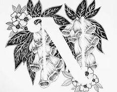 Imprimir letra N - alfabeto, caligrafía, tipografía, monograma, flores - impresión de arte de tinta blanco y negro