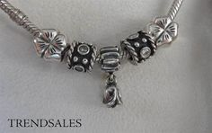 Pandora - vintage charms with tulip and four clovers - 790221cz