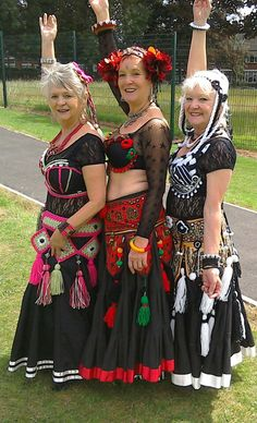 Ann, Joan and Chris of The Hypsy Gypsies (UK) after performing Tribal Fusion Style Belly Dance at The Kids Karnival at Etruria Park, Stoke-on-Trent in July 2015. Photograph by P. J. Derbyshire.