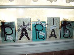 Teal and black PARIS blocksParis decor by JulieannasCreations, $18.00