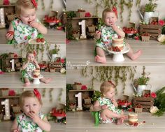 Smash Cake First Birthday, Baby Cake Smash, First Birthday Party Themes, Party Themes For Boys, Girl First Birthday, Strawberry Shortcake Birthday, Strawberry Baby, 1st Birthday Pictures, Cake Smash Photos