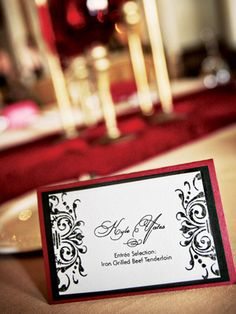 For more red wedding inspiration http://pinterest.com/groomsandbrides/red-wedding-wedding-ideas/ ... Escort Cards -black and white gothic themed stationary with red trim