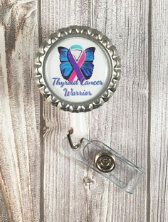 Thyroid cancer - Cancer warrior - Cancer badge reel - Blue pink teal - Thyroid cancer awareness - Find a cure - Work badge reel - Butterfly by Shaebugs on Etsy