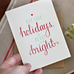 May Your Holidays Be Merry and Bright Letterpress Card | Bespoke Press