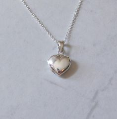 Silver heart locket necklace - sterling heart shaped locket pendant - tiffany inspired - romantic gift - simple everyday jewelry - Harmony by littleglamour, $35.00