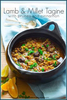 Lamb and Millet Tagine with Cinnamon and Prunes on healthyseasonalrecipes.com #glutenfree