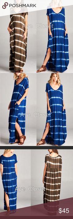 Spotted while shopping on Poshmark: Maxi dress side slit pockets tie dyed oversized! #poshmark #fashion #shopping #style #Dresses & Skirts
